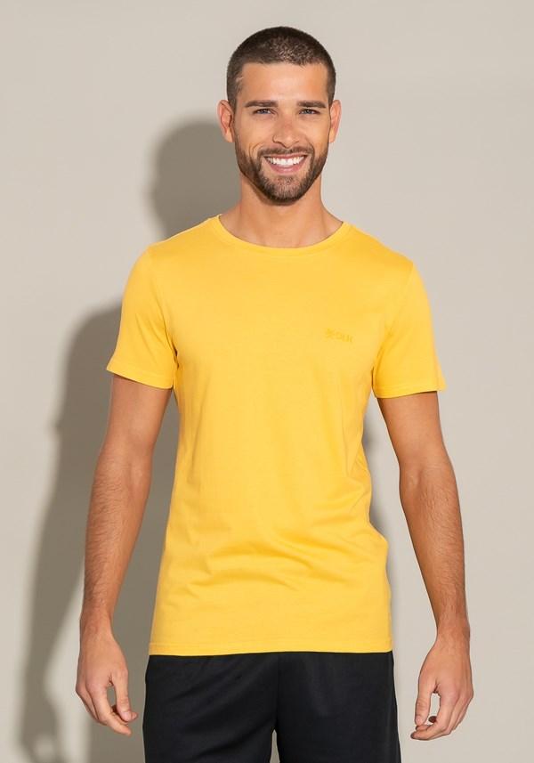 Camiseta algodão manga curta for men slim amarelo escuro