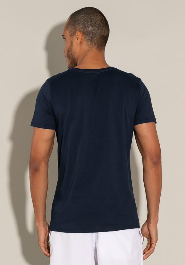 Camiseta algodão manga curta for men slim azul marinho