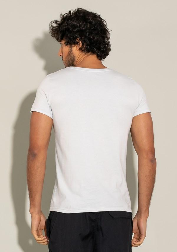 Camiseta algodão manga curta for men slim cinza claro