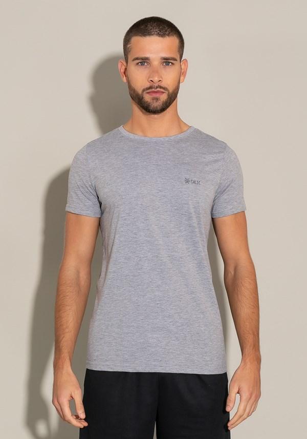 Camiseta algodão manga curta for men slim mescla claro