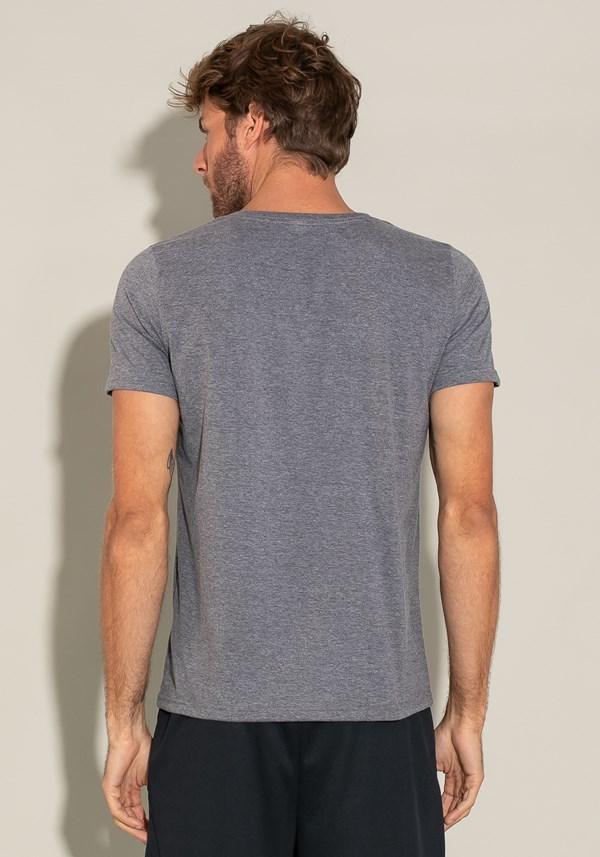 Camiseta algodão manga curta for men slim mescla escuro