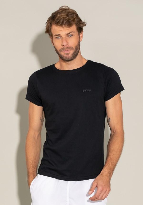 Camiseta algodão manga curta for men slim preto