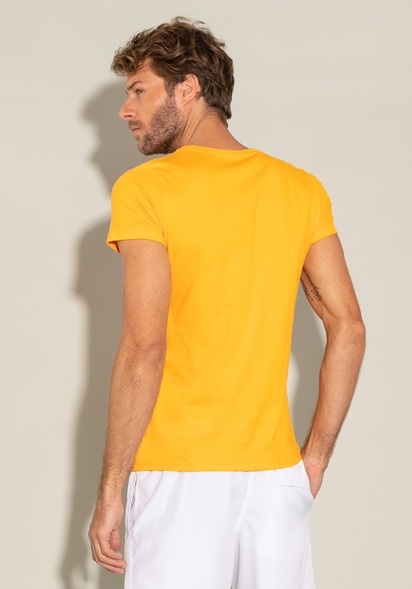 Camiseta algodão manga curta for men super slim laranja