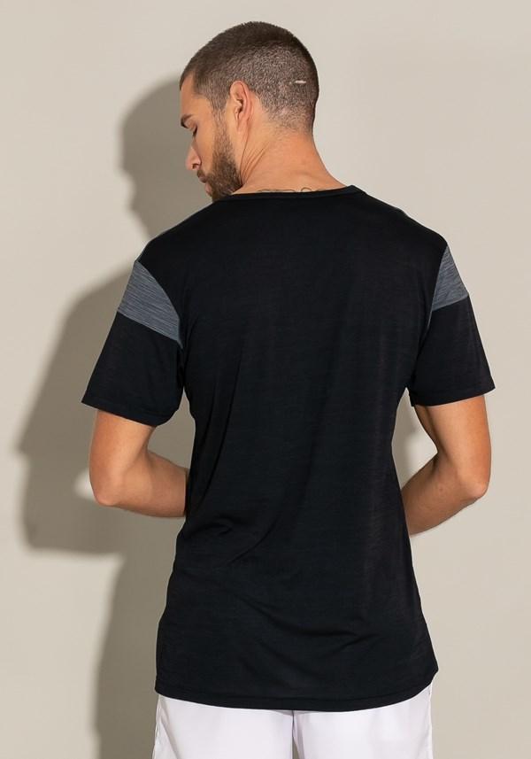 Camiseta manga curta com recortes for men preto