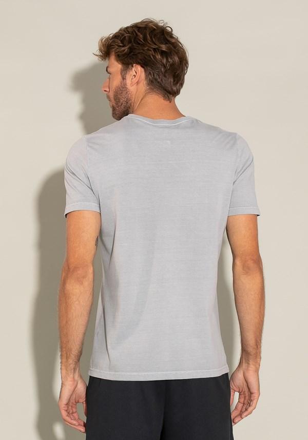 Camiseta manga curta estonada for men decote v cinza