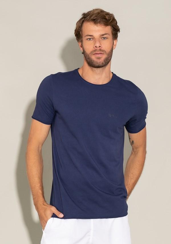 Camiseta manga curta for men acabamento a fio azul marinho
