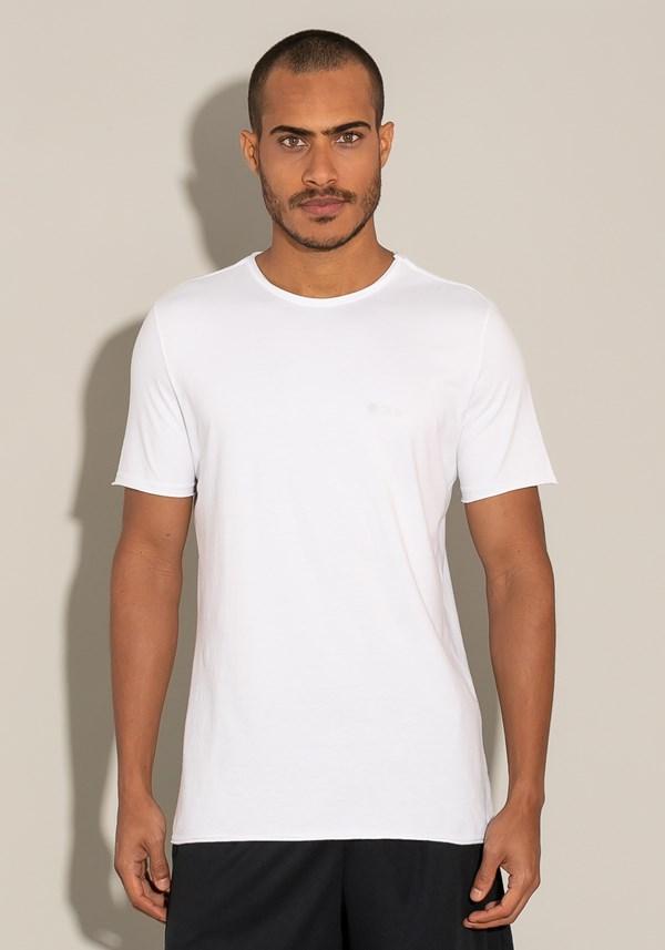 Camiseta manga curta for men acabamento a fio branco
