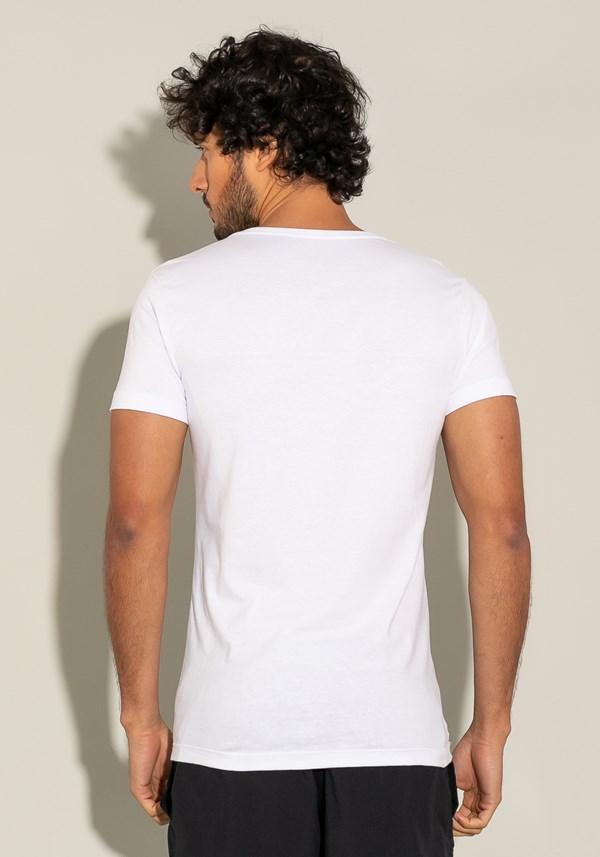 Camiseta manga curta for men slim branca com silk degradê