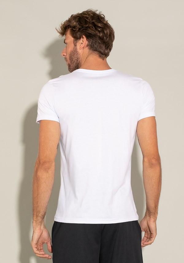 Camiseta manga curta for men slim decote v branco
