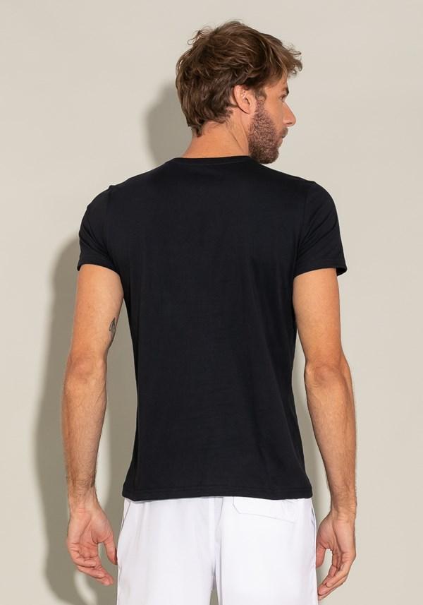 Camiseta manga curta for men slim decote v preto