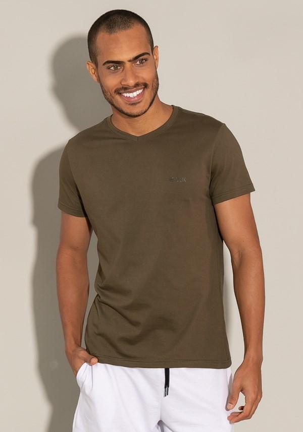 Camiseta manga curta for men slim decote v verde musgo