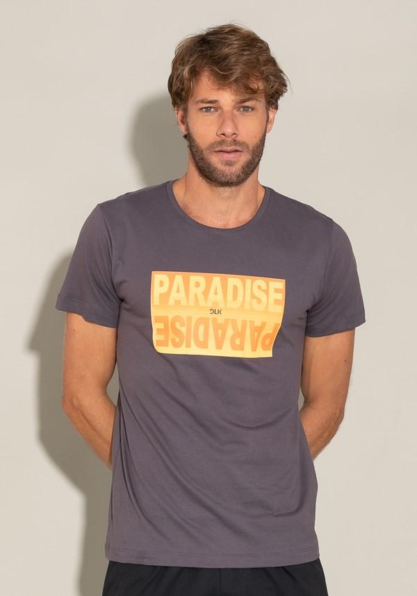 Camiseta manga curta for men slim verde escuro com silk paradise