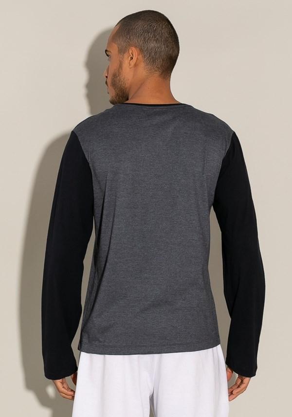 Camiseta manga longa for men preto com mescla