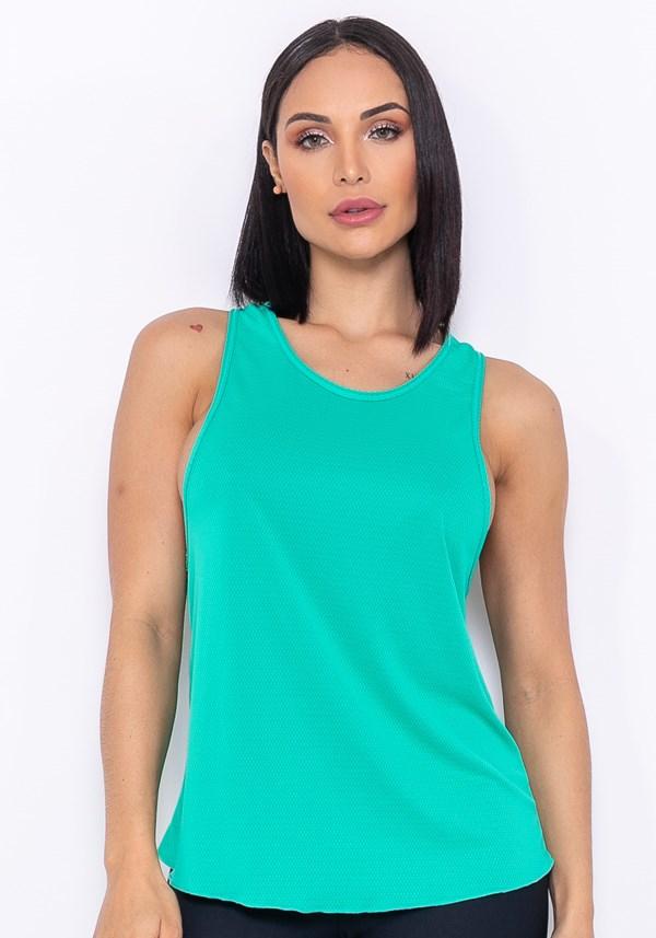 Camiseta modelo cavada technology dupla face verde
