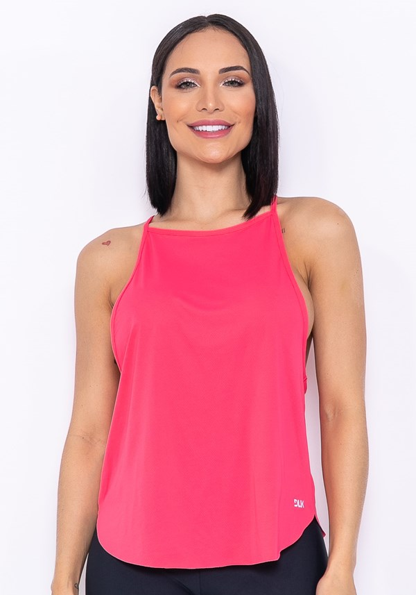 Camiseta modelo cavado technology rosa chiclete