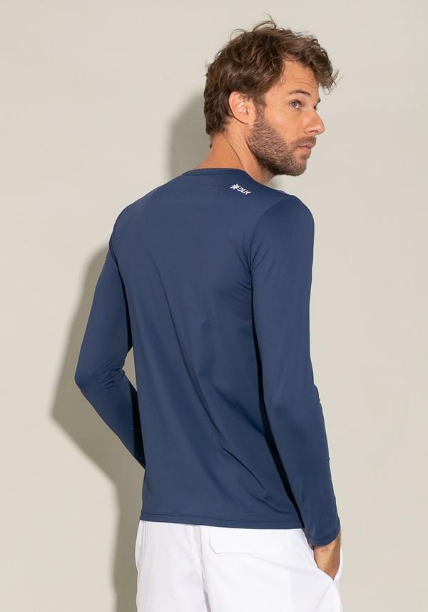 Camiseta poliamida manga longa for men com proteção uv azul marinho
