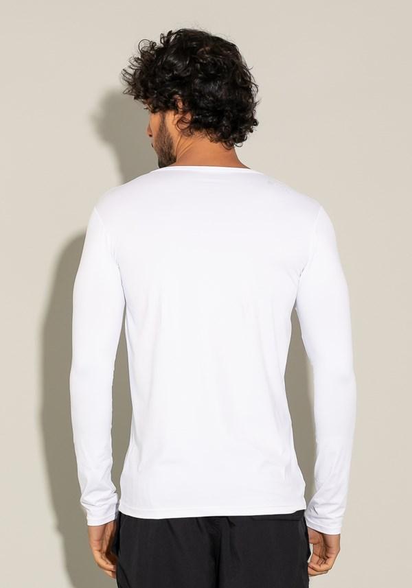 Camiseta poliamida manga longa for men com proteção uv branco