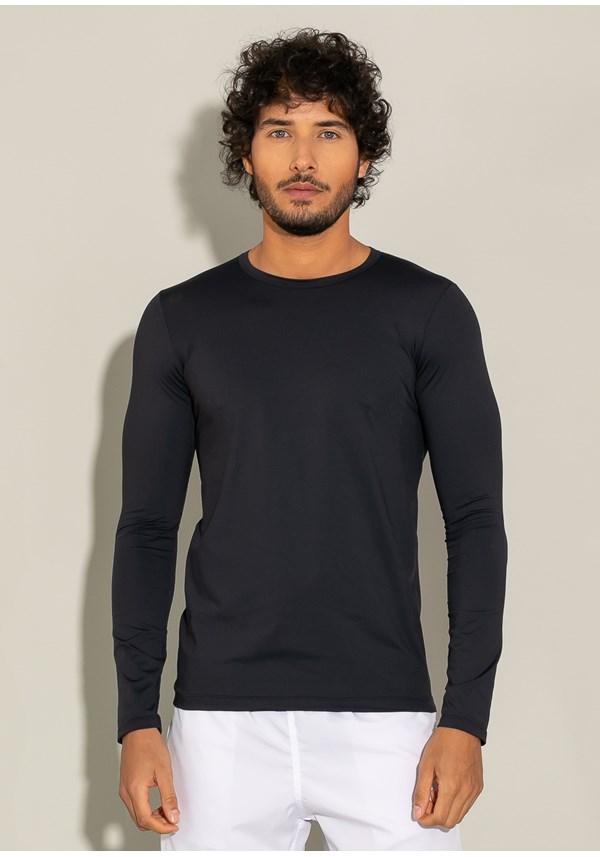 Camiseta poliamida manga longa for men com proteção uv preto