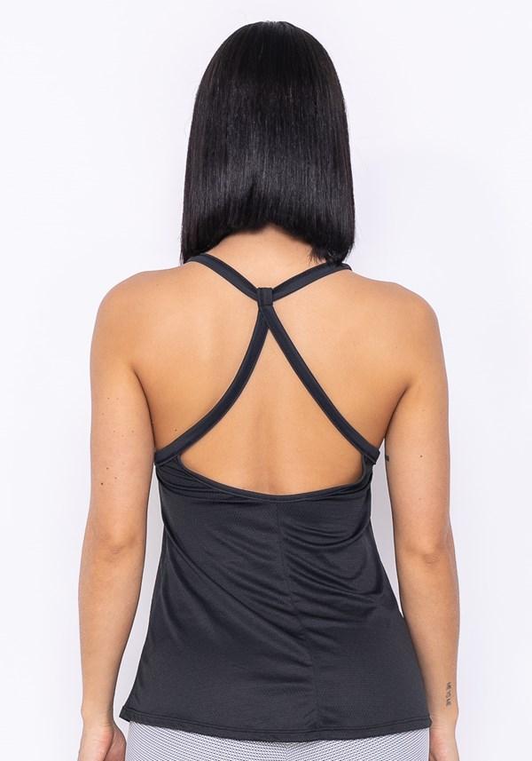 Camiseta technology tira dupla nas costas preto