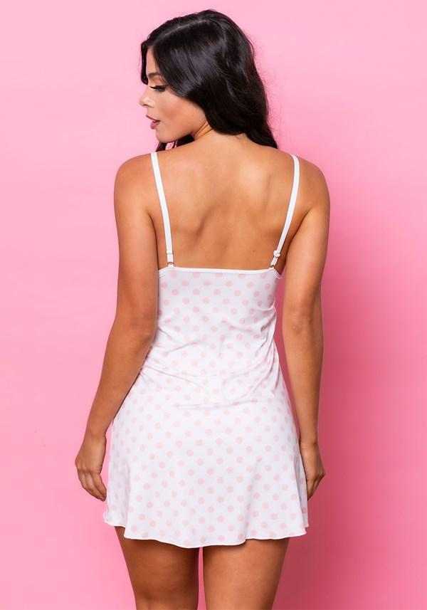 Camisola sem bojo intimate em malha branca com poá rosa