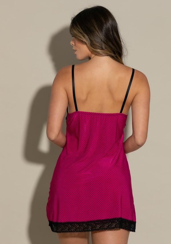 Camisola sem bojo intimate em poá pink com preto