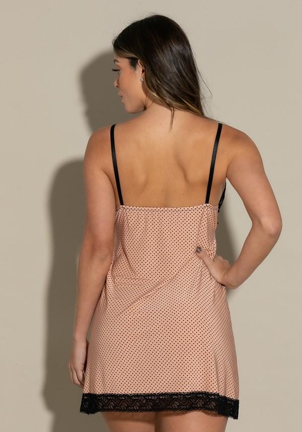 Camisola sem bojo intimate em poá rosé com preto