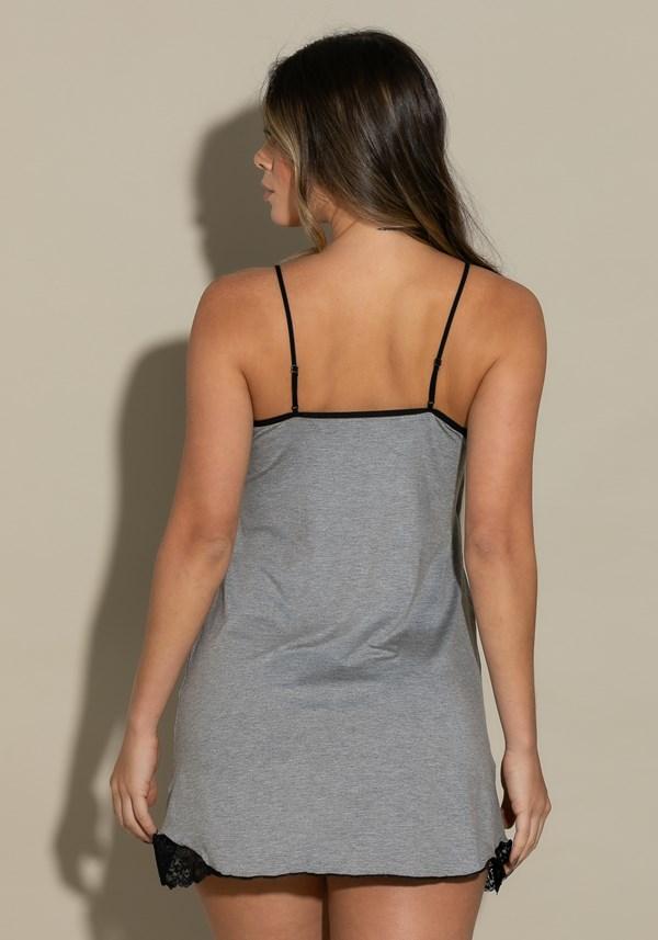 Camisola sem bojo intimate em viscose mescla com renda preta