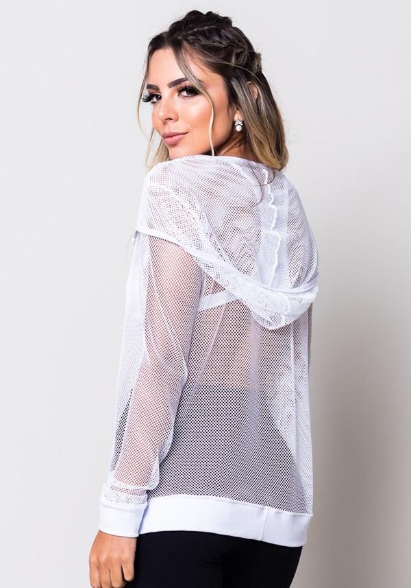 Casaco de tela branco com zíper