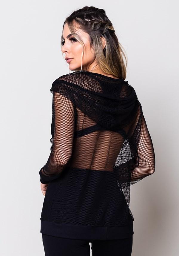 Casaco de tela preto com zíper