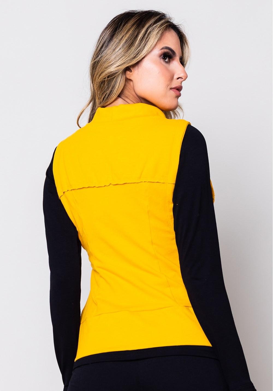 Colete moletom amarelo com cadarço
