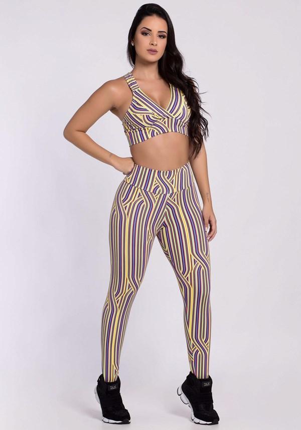 Conjunto fitness estampado colorful (calça + top)