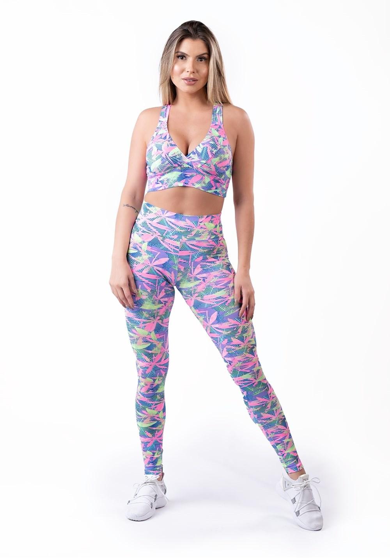 Conjunto fitness estampado colors (top + legging)