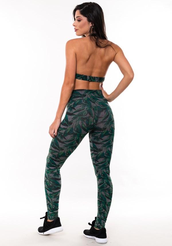 Conjunto fitness match mescla estampada folhagem verde (top+calça)