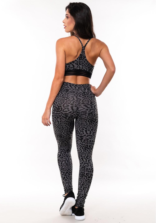Conjunto fitness match mescla estampada onça (top+calça)