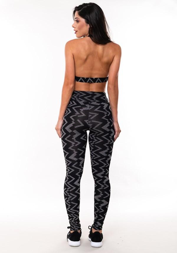 Conjunto fitness match mescla estampada zig zag (top+calça)