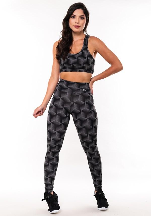 Conjunto fitness match mescla estampado colméia (top+calça)