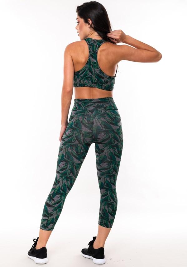 Conjunto fitness match mescla estampado folhagem verde (corsário+top)