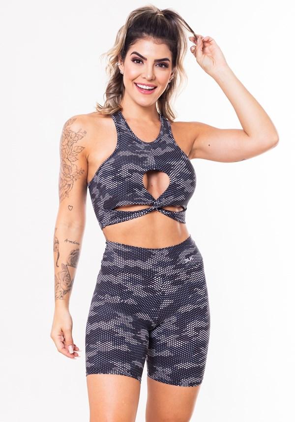 Conjunto fitness match poliamida estampada camuflado militar preto (short+ top)