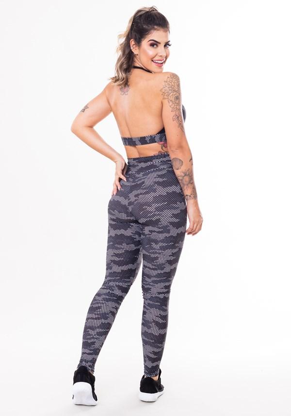 Conjunto fitness match poliamida estampada camuflado militar preto (top+calça)