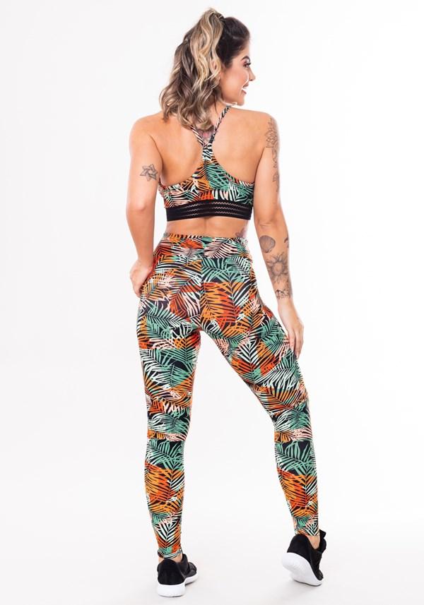 Conjunto fitness match poliamida estampada folhagem laranja (top+calça)
