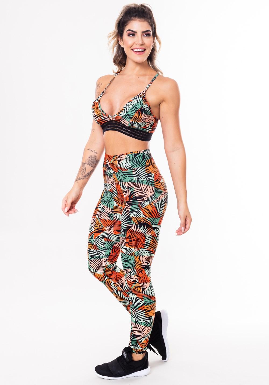 Conjunto fitness match poliamida estampada folhagem laranja (top+calça
