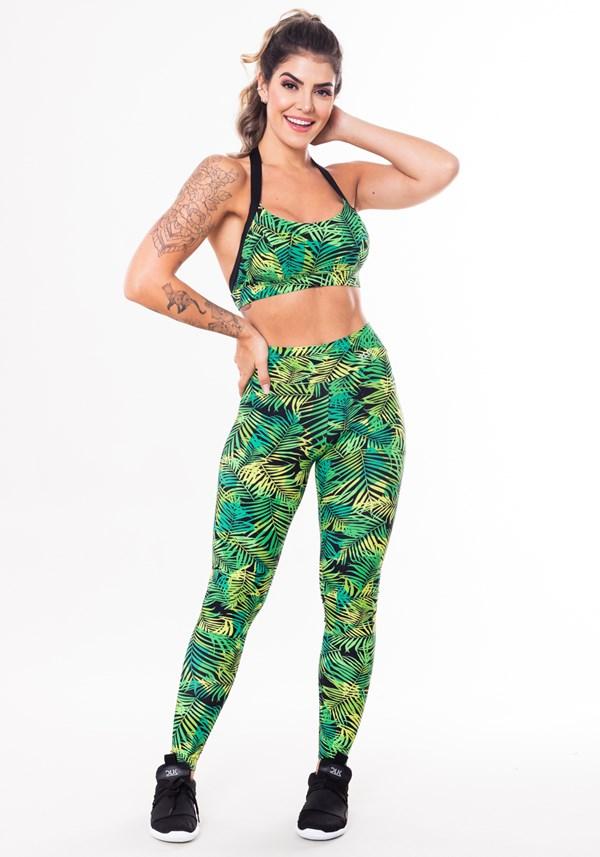 Conjunto fitness match poliamida estampada folhagem verde (top+calça)