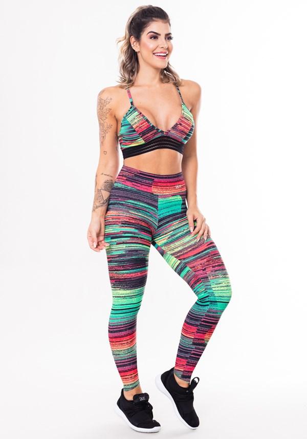 Conjunto fitness match poliamida estampada riscos coloridos (top+calça)