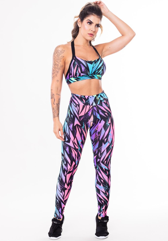 Conjunto fitness match poliamida estampada urban (top+calça)