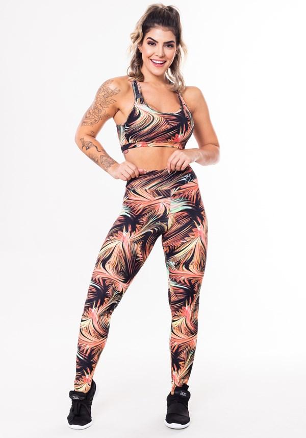 Conjunto fitness match poliamida estampado folhagem abstrata (top+calça)