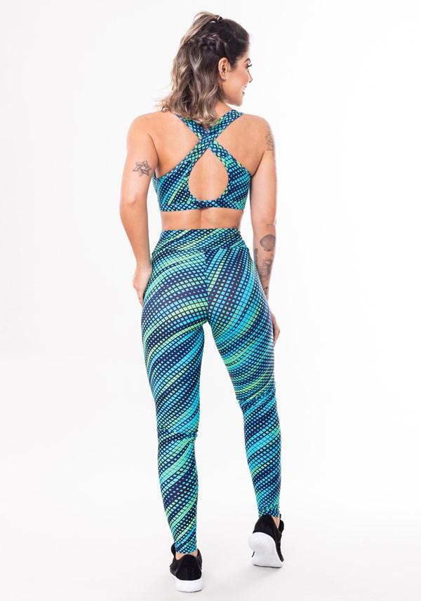 Conjunto fitness match poliamida estampado pixels azul e verde (top+calça)