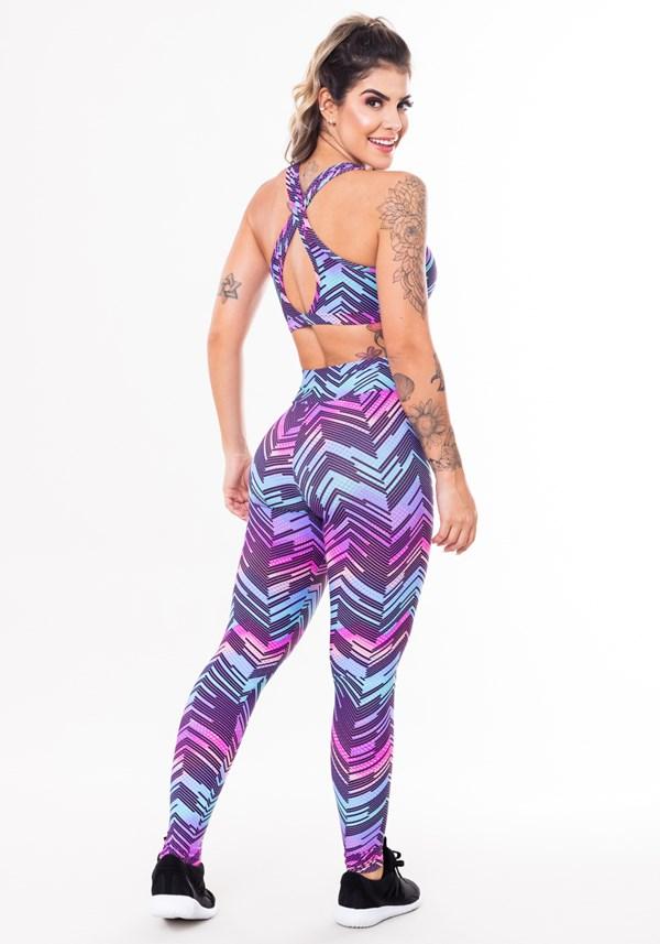 Conjunto fitness match poliamida estampado zig zag roxo (top+calça)