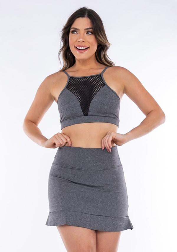 Conjunto fitness mescla (top+short saia)