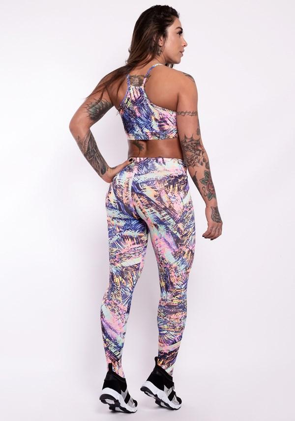 Conjunto fitness suplex estampado collection (calça+top)