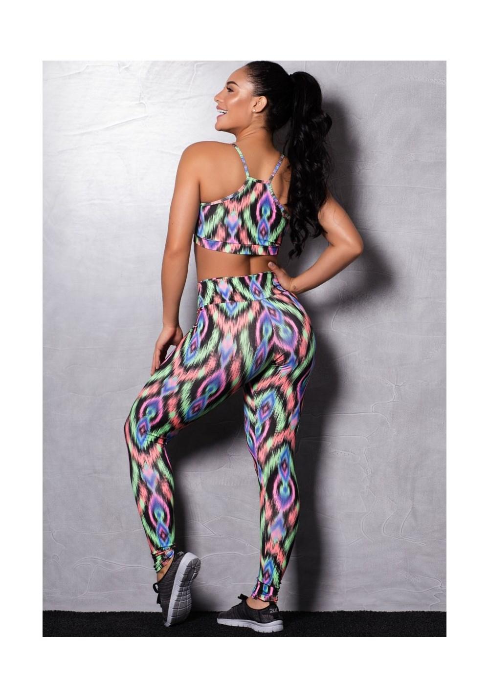 Conjunto fitness suplex estampado colorful (calça + top)